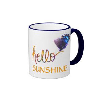 hallo Sonnenscheintextkunst und -schmetterling Ringer Tasse
