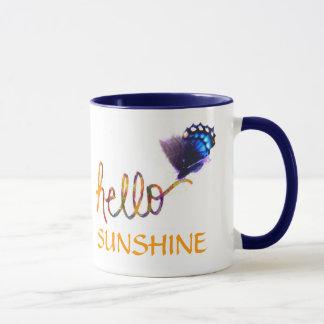 hallo Sonnenscheintextkunst und -schmetterling Tasse