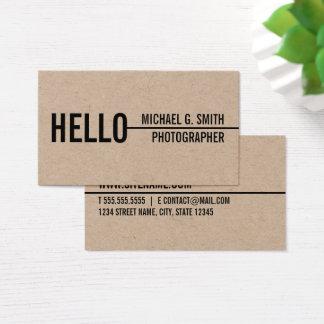 """""""Hallo"""" stilvolles modernes unbedeutendes Braunes Visitenkarte"""