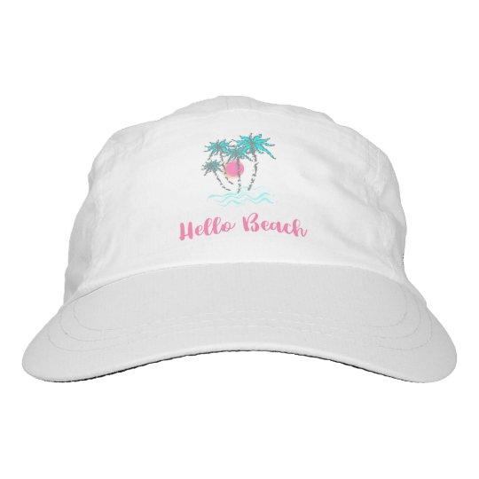 Hallo Strand-tropisches Sommer-Ferien-Weiß Headsweats Kappe