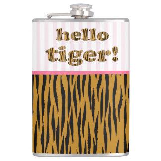 Hallo Tiger!  | rosa Spaß-Zitat Tigerprint Flachmann