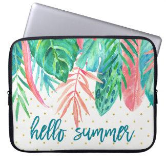 Hallo tropische Aquarell-und Goldpunkte des Laptop Sleeve