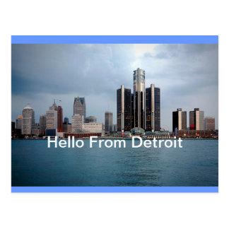 Hallo von Detroit, Michigan Postkarte