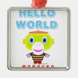 Hallo Welt-Niedlicher Affe-Morocko Silbernes Ornament