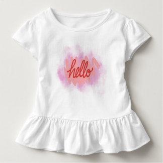Hallo zum Weltkleinkind-Rüsche-T-Stück Kleinkind T-shirt