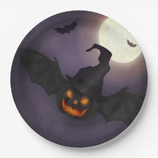 Halloween - beängstigender Kürbis-Schläger - alle Pappteller