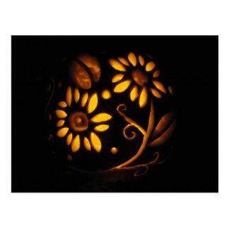 Halloween-Blumen-Kürbis Jack-o' Laterne Herbst Postkarte