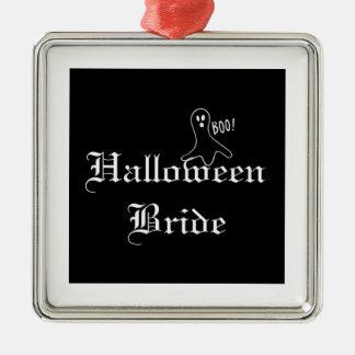 Halloween-Braut mit Geist-Verzierung Silbernes Ornament