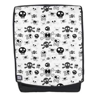 Halloween-Cartoon-Schädel-Muster in Schwarz-weißem Rucksack