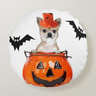 Halloween-Chihuahuahund Rundes Kissen