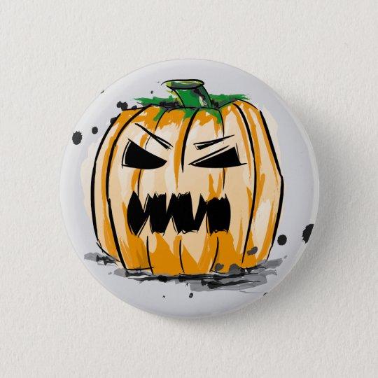 Halloween creepy pumpkin runder button 5,7 cm
