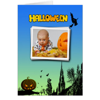 Halloween-Dämmerung mit Hexe addieren Foto-Rahmen Karte