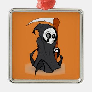 Halloween der grimmige Sensenmann Quadratisches Silberfarbenes Ornament