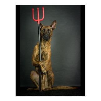 halloween dog- devil postkarte