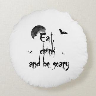 Halloween - essen Sie, Getränk und seien Sie Rundes Kissen