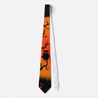 Halloween-Eule und Kürbislaterne-Krawatte Personalisierte Krawatte