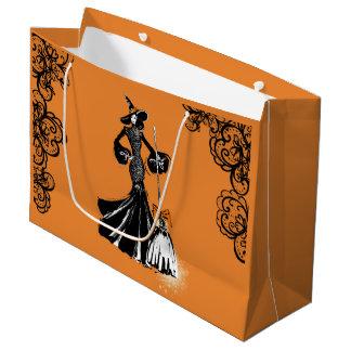 Halloween fashionillustration mit schwarzer Spitze Große Geschenktüte