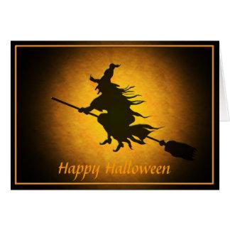 Halloween-Fliegen-Hexe-Gruß-Karte Karte
