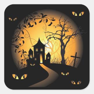 Halloween - frequentierende Augen, die Sie Quadratischer Aufkleber