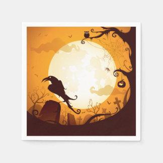 Halloween-Friedhofsszenen, Rabe, Kürbis, Spinne Serviette