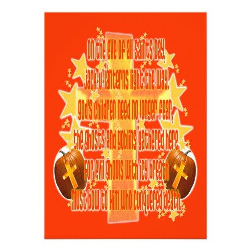 Halloween für Christen (Gedicht) Personalisierte Ankündigungskarte