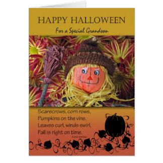 Halloween für Enkel, Vogelscheuche und Gedicht Karte