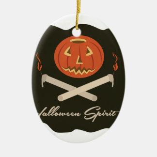 Halloween-Geist-Flagge Ovales Keramik Ornament