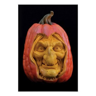 Halloween gemeißelter Jack-O' - Laternen-Hexe Poster