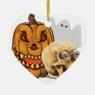 Halloween-Gemisch Keramik Herz-Ornament