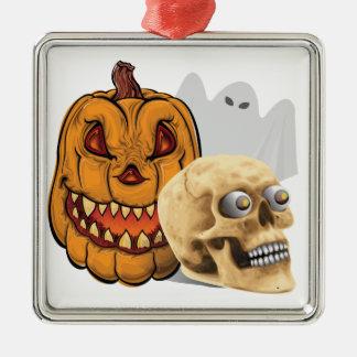 Halloween-Gemisch Quadratisches Silberfarbenes Ornament