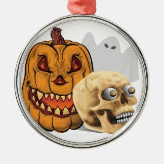 Halloween-Gemisch Rundes Silberfarbenes Ornament