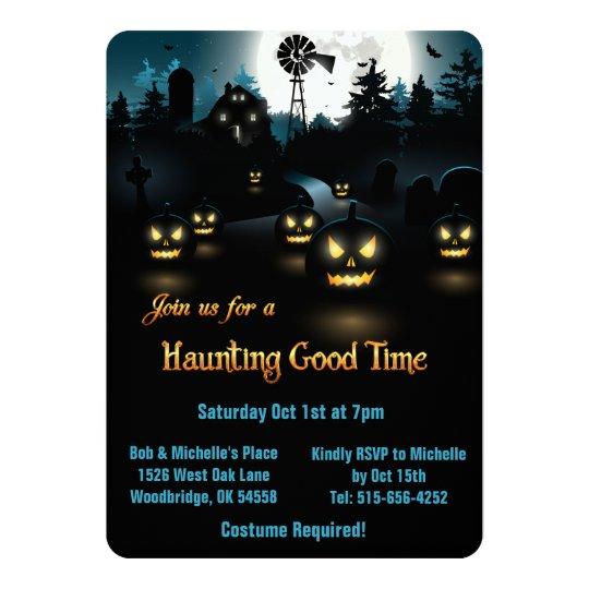 halloween - gespenstische kürbis-blauer mond 12,7 x 17,8 cm, Kreative einladungen