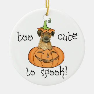 Halloween-Grenze Terrier Rundes Keramik Ornament