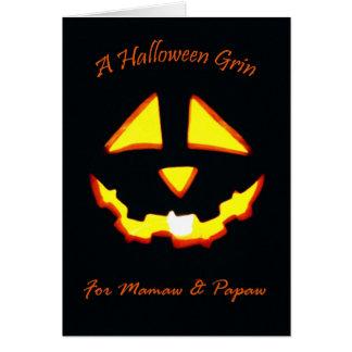 Halloween-Grinsen für Mamaw und Papaya-Frucht Karte