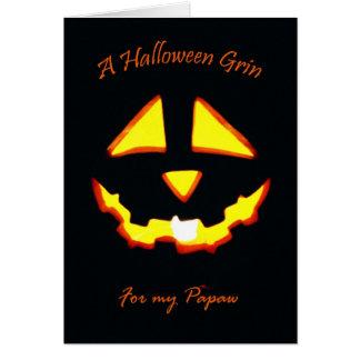 Halloween-Grinsen für Papaya-Frucht Karte