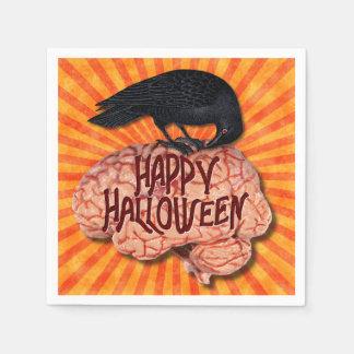 Halloween - gruseliger Rabe auf Gehirn Papierserviette
