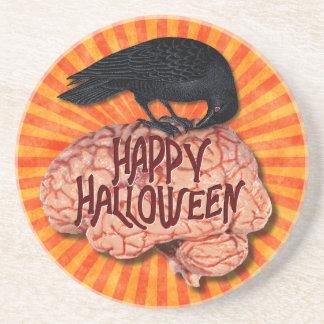 Halloween - gruseliger Rabe auf Gehirn Sandstein Untersetzer
