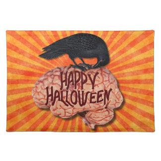 Halloween - gruseliger Rabe auf Gehirn Stofftischset