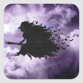 Halloween - heiligt Eve-Hexe Quadratischer Aufkleber