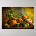 Halloween-Herbst-Fall-Kürbis-Einstellungs-Tabelle Poster