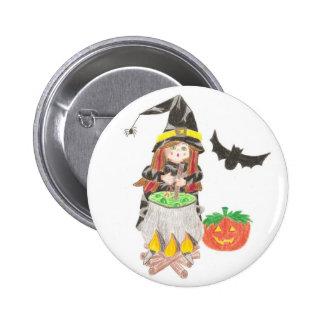 Halloween-Hexe 1 Runder Button 5,1 Cm