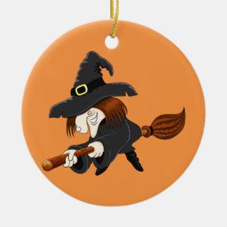 Halloween-Hexe auf einem Besen Rundes Keramik Ornament