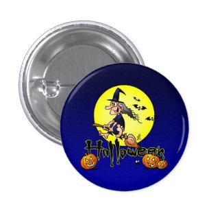 Halloween, Hexe auf einem Besen, Schlägern und Runder Button 2,5 Cm