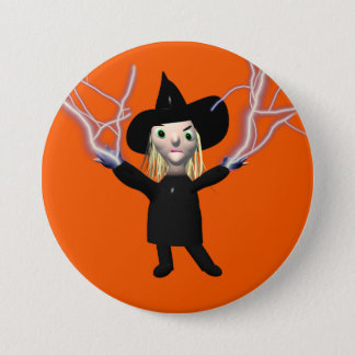 Halloween-Hexe-Bann Runder Button 7,6 Cm