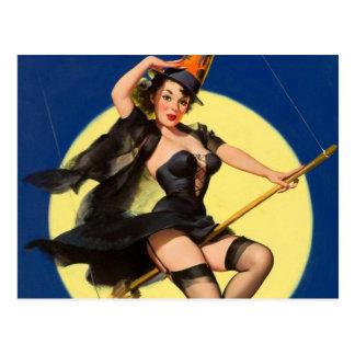 Halloween-Hexe-Button herauf Mädchen Postkarte