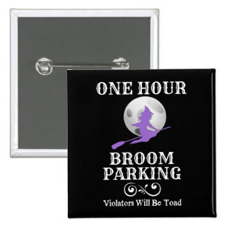 Halloween-Hexe ein Stunden-Besen-Parken Quadratischer Button 5,1 Cm
