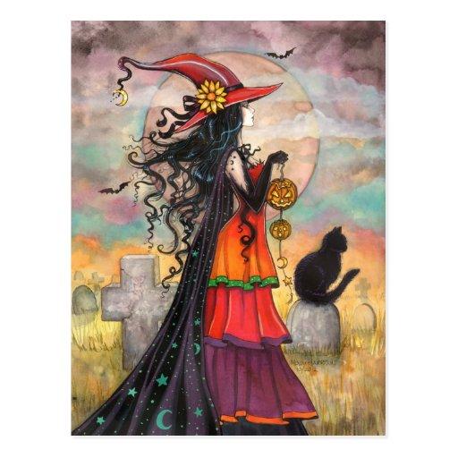 Halloween-Hexe-Fantasie-Kunst durch Molly Harrison Postkarte