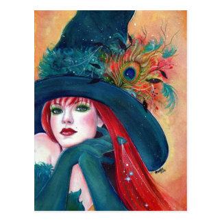Halloween-Hexe-Federpostkarte durch Renee Lavoie Postkarte