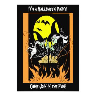 Halloween-Hexe-großer Kessel Karte