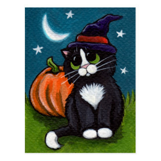 Halloween-Hexe-Katzen-und Kürbis-Illustration Postkarte